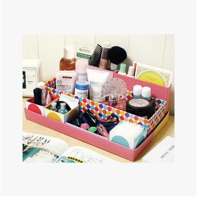 New Arrival Korean Lovely Originality DIY Cardboard Paper Desk Storage Box Fashion Multifunction Cosmetic Organizer Box In Box