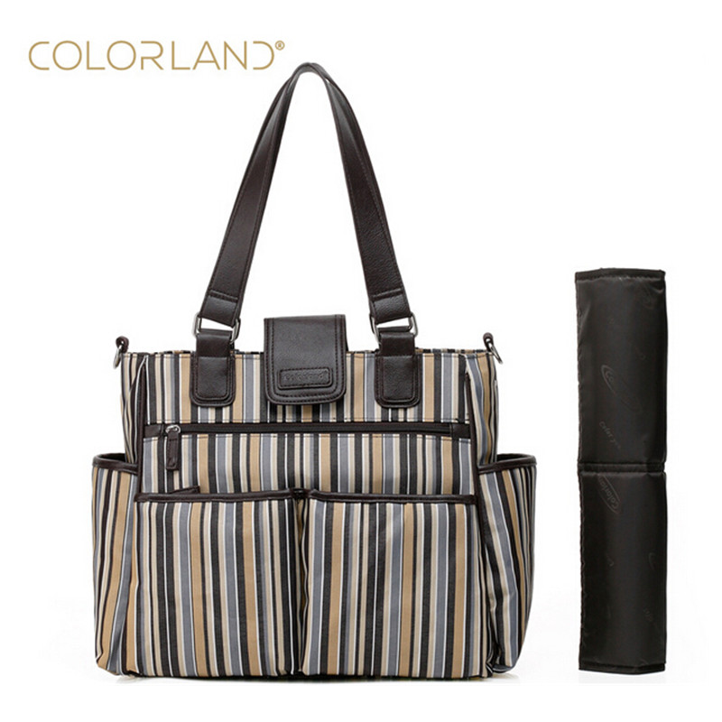 COLORLAND Diaper Bags Nylon Large Capacity Shoulder Waterproof Elegant Nappy Changing Bag Baby Stroller Bags For Maternity Mom bowtie hemp black ankle strap white canvas espadrilles shoes bow flats fisherman sandals ladies lace up women straw cute pom pom