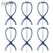 Neitsi Peruk Kafa Standı saç aksesuarları/Araçları Manken Başkanı Standı Peruk Tutucu Mavi Renk 6 adet/grup
