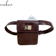Women Waist Bag Brown Alligator Green PU Leather Waist Pack For Female Girl Travel Belt Bag Pack Newest Fanny Bags