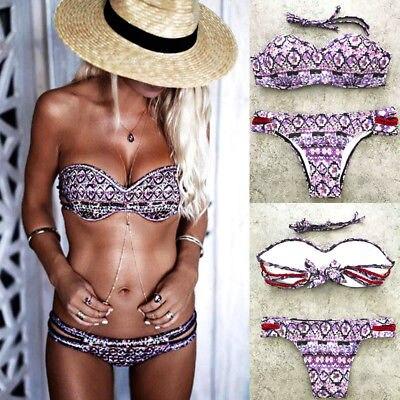 2017 Women Push-up Padded Bra Bandage Bikini Set Purple Print Swimsuit Bathingsuit Swimwear Women Sexy Beachwear