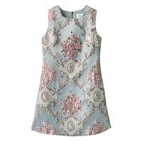 Luxury Designer Brand Dress for Women O Neck Vintage Jacquard Embroidered Beading Vest Dress