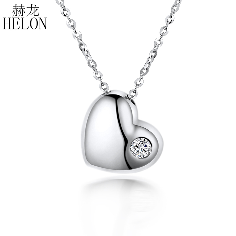 HELON Love Heart Round Full Cut S/H 0.04CT Genuine Diamond Wedding Chain Pendant Jewelry Solid 18K White Gold Fine Jewelry Women yoursfs heart necklace for mother s day with round austria crystal gift 18k white gold plated
