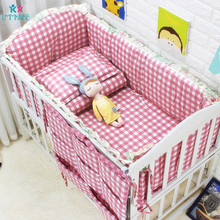 цена на 100%Cotton Pink Plaid Baby Crib Bed Bumpers for Newborns Toddler Bed Bedding Sets Pillowcase Sheet Baby Crib Bumper Filling 6PCS
