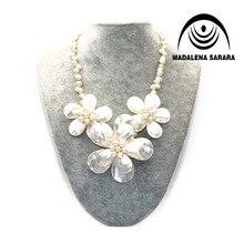 MADALENA SARARA Hot Sale Elegant Princess Style  7mm Baroque Freshwater Pearl Five Shell Flower Necklace 18 Personality леска для триммеров bosch combi easy f016800176