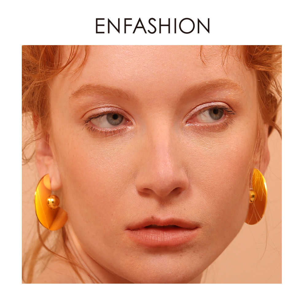 Enfashion Jewelry Fan and Ball Earrings For Women Gold Color Boucle d'oreille Femme Earings Fashion Jewelry EB181047
