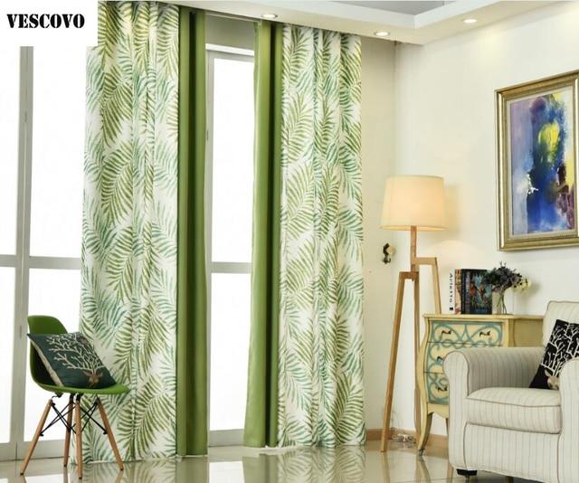 VESCOVO Amerikanische Landschaft Vorhangstoffe Grün Fenster Vorhang  Wohnzimmer Gardinen