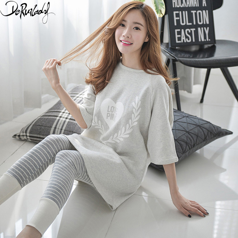 Deruilady Spring Autumn Cartoon   Pajamas   Women Long Sleeves O-Neck Pattern Sleepwear Trousers   Pajamas     Set   Thin Cute Pyjamas Women