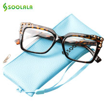 1184b61aefe SOOLALA Womens Reading Glasses Rivet Big Full Frame Readers Reading Glass  Eyewear Men Presbyopic Glasses +0.5 to 4.0
