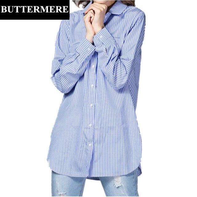 Buttermere брендовая одежда плюс Размеры Для женщин белая блузка 4xl 5xl большой Размеры с длинным рукавом Синяя рубашка в полоску blusas feminina лето