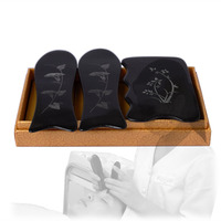 New Ox Horn Engraved Designs Beauty Massage Guasha Tool 1pcs Square Plate 2pcs Fish 3pcs Set