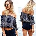 Chic Vintage umbigo à mostra Top Sem Alças das Mulheres Beachwear Verão Blusa