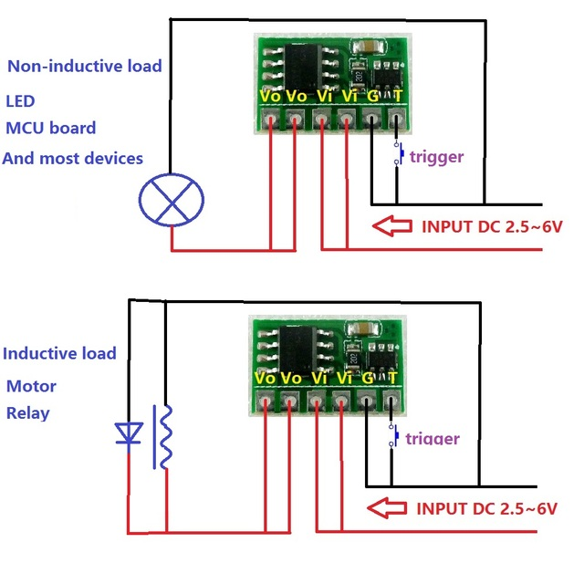 6A DC 3V 3.3V 3.7V 5V Electronic Switch Latch Bistable Self-locking Trigger Board for LED Motor Driver Solar Lithium battery