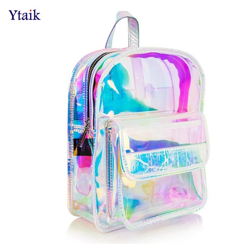 Laser Transparent Backpack Hologram Women Girls Backpack Clear Daily Backpack Teenage Girls Waterproof PVC Shiny School Bag