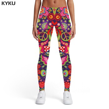 KYKU Brand Psychedelic Leggings Women Colorful 3d Print Dizziness Elastic Gothic Trousers Rainbow Spandex Womens Leggings Pants 15