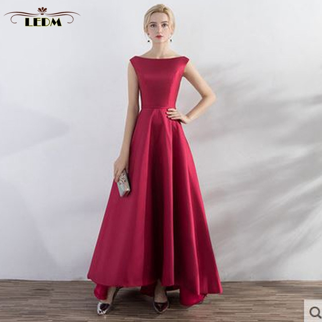 Robe demoiselle d honneur2018 new satin Boat Neck backless burgundy high  and low bridesmaid dress long cheap wedding party gowns 5619aa1c79d3