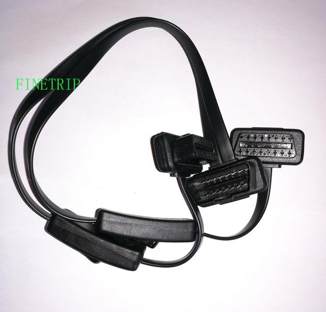 Extension de répartiteur FINETRIP OBD 2 1 à 2 avec interrupteur câble Y mâle deux ports à femelle pour outil de Scanner de Diagnostic automatique ELM327