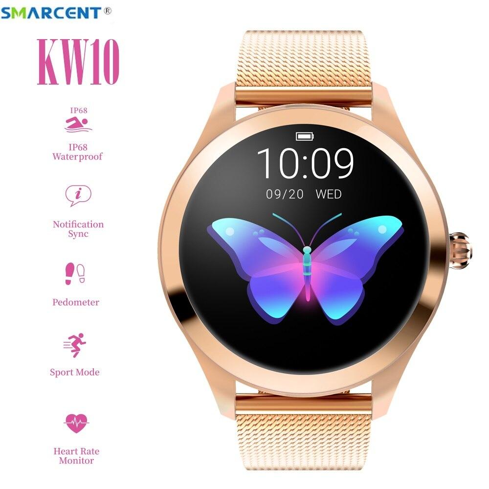 Smarcent KW10 montre intelligente femmes 2019 IP68 étanche surveillance de la fréquence cardiaque Bluetooth pour Android IOS Fitness Bracelet Smartwatch