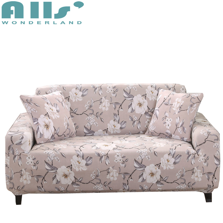 Universal Stretch Sofa Covers With White Flower Patterns Sofa Seat ...