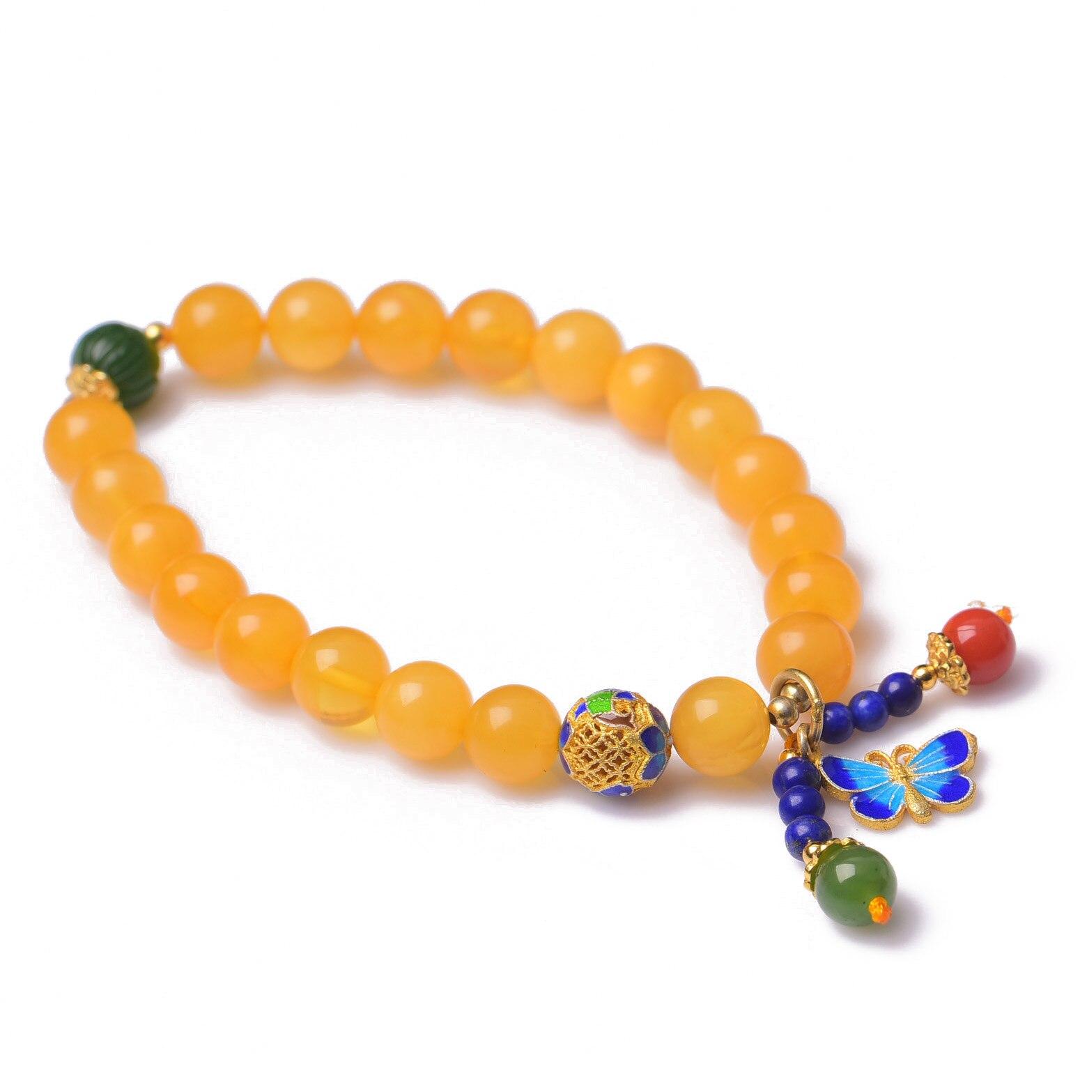 Handmade Authentic Wax Crystal Beads Bracelets 7mm handmade authentic wax crystal bracelets
