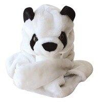 DOUBCHOW Nowe Mody Śliczne Pluszowe Biały Panda Zwierząt Kapelusz z Rękawice Paws Nastolatków Dzieci Chłopcy Dziewczęta Czapki Zimowe dla Dorosłych czapka