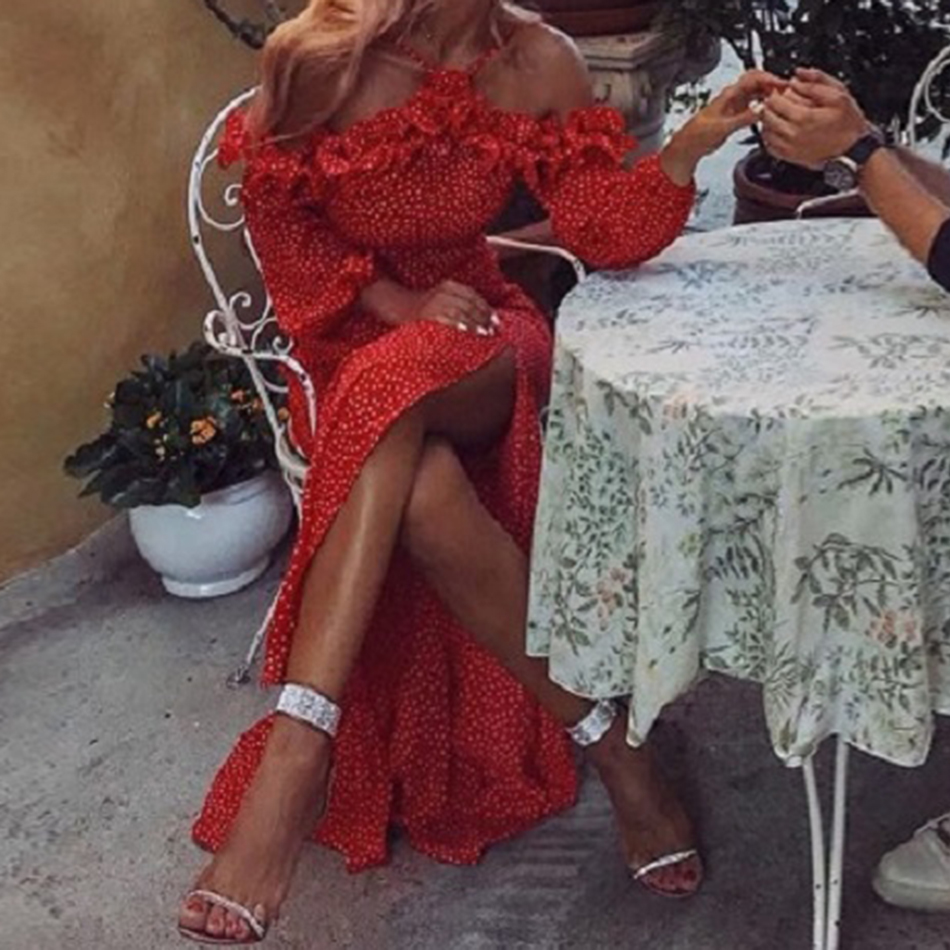 2018 Robe Sirène Manches Automne Party Longue Sling Élégante Rouge À Volants Imprimer Nouvelle Mode Celebrity Longues afwIrnTaq