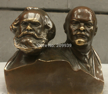huij 005711 Chinese China Folk Culture Handmade Brass Bronze Statue Marx and Lenin Sculpture