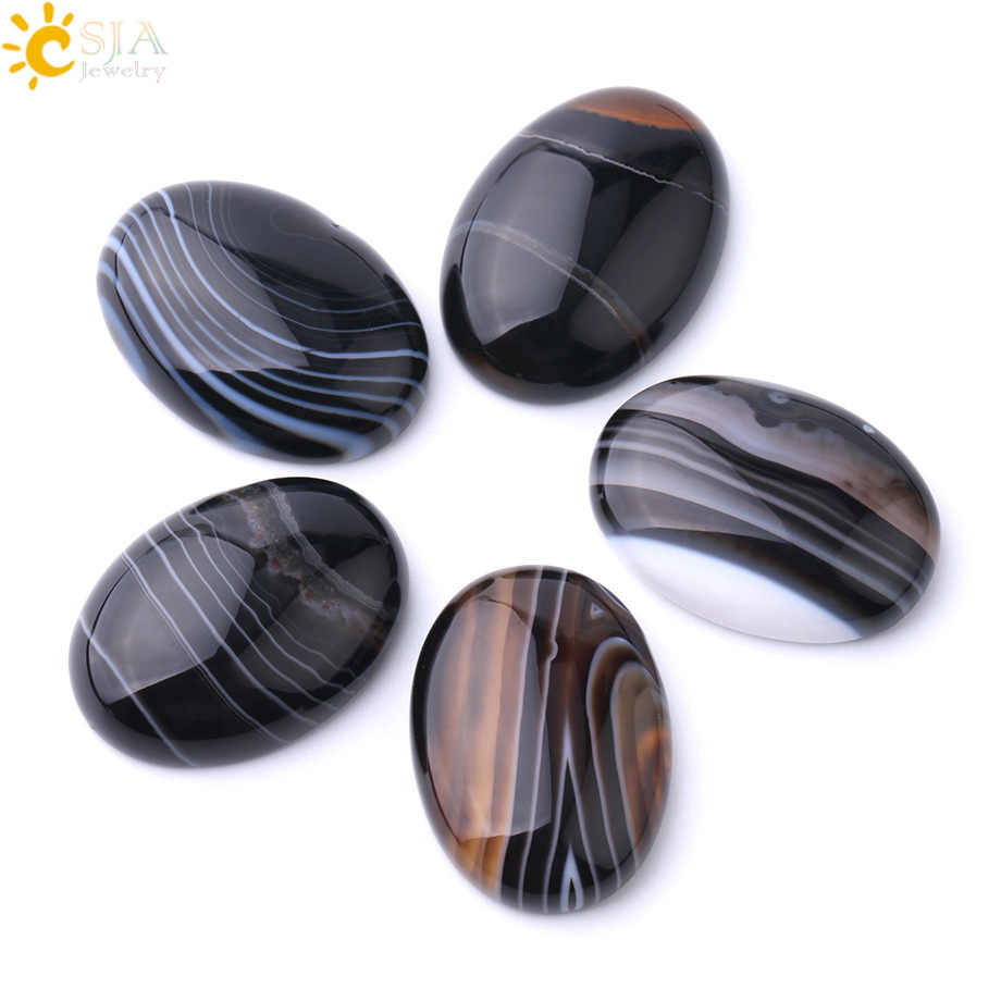 CSJA Natural Stone Black Veins Agates Cabochon Bead for DIY Ring Pendant Earrings Jewelry Accessories Flatback Stripe Beads F807