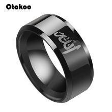 Otakoo – bague musulmane en acier inoxydable pour hommes, Allah Shahada, Messager de dieu arabe islamique, bande noire du coran