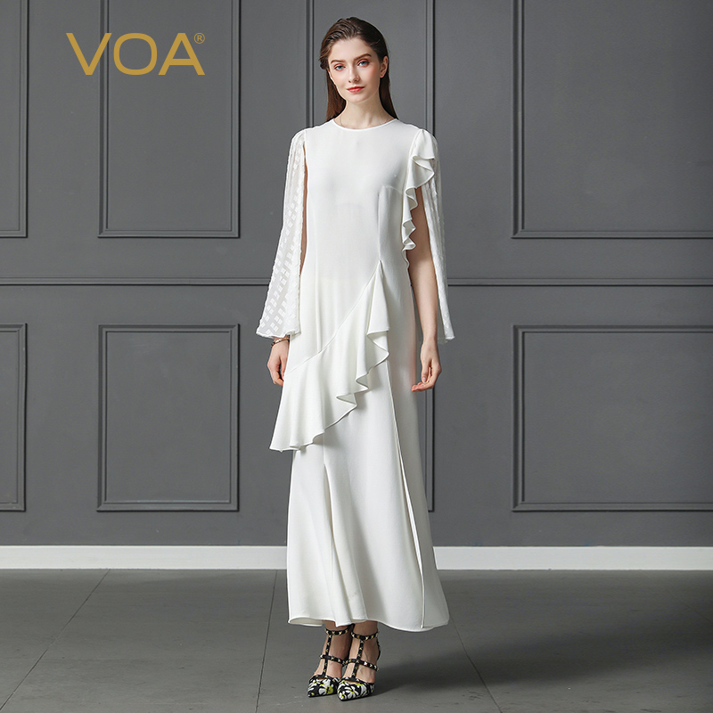 VOA Heavy Silk Party Mermaid Dress Plus Size 5XL Solid White Slim Office Ruffle Dinner Dress Women Fake Two Set Spring A361 plus size mermaid ruffle tube dress
