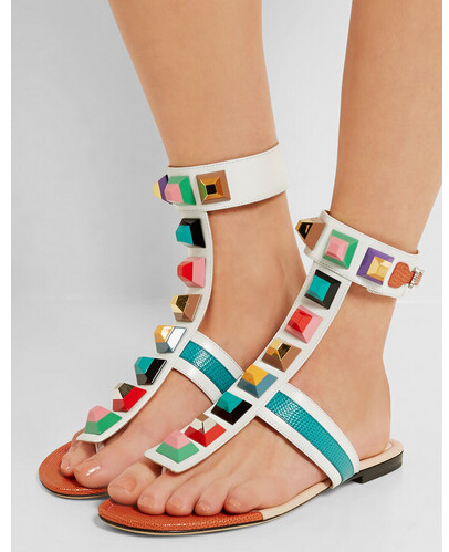 ФОТО 2017 Summer Newest Fashion Beautiful Mixed Colors Flat Sandal multicolor rivets Design flip-flop Sandals Sexy Woman Casual Shoes