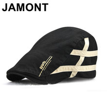 Jamont verano algodón rayas Newsboy sombrero caballero británico pico Visor  Golf gorras Casual Boina Cap hombres ed18c2f1dc6