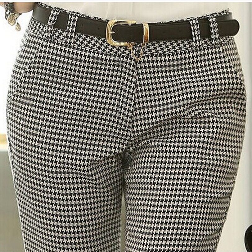 Image 2 - 2019 Spring Summer Autumn Women Slim Casual Pants Work Wear Career Houndstooth Pants Straight Pencil Pants Women trousers female-in Pants & Capris from Women's Clothing