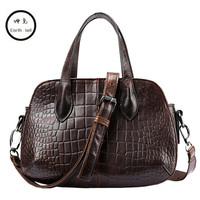 Crocodile pattern Real Cow Leather Ladies HandBags Women Genuine Totes Messenger Bags Hign Quality Designer Luxury Brand Bag
