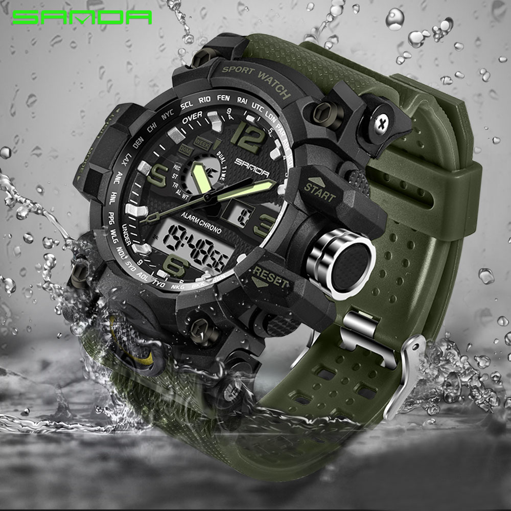 Sanda reloj militar impermeable relojes deportivos hombres reloj digital LED de reloj de lujo de marca superior camping buceo Relogio Masculino