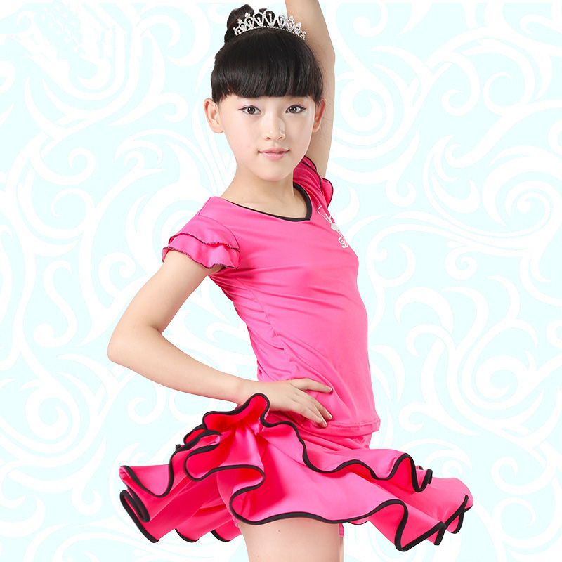 Free Shipping Ballroom Dancing Latin Skirt For Girls Samba Costume Latin Dance Tops Children Salsa/ Tango Stage Dance Clothes
