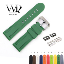 Rolamy 22 24mm Watch Band For Panerai Luminor Pure Green White Black Waterproof Silicone Rubber Replacement Watchbands Strap