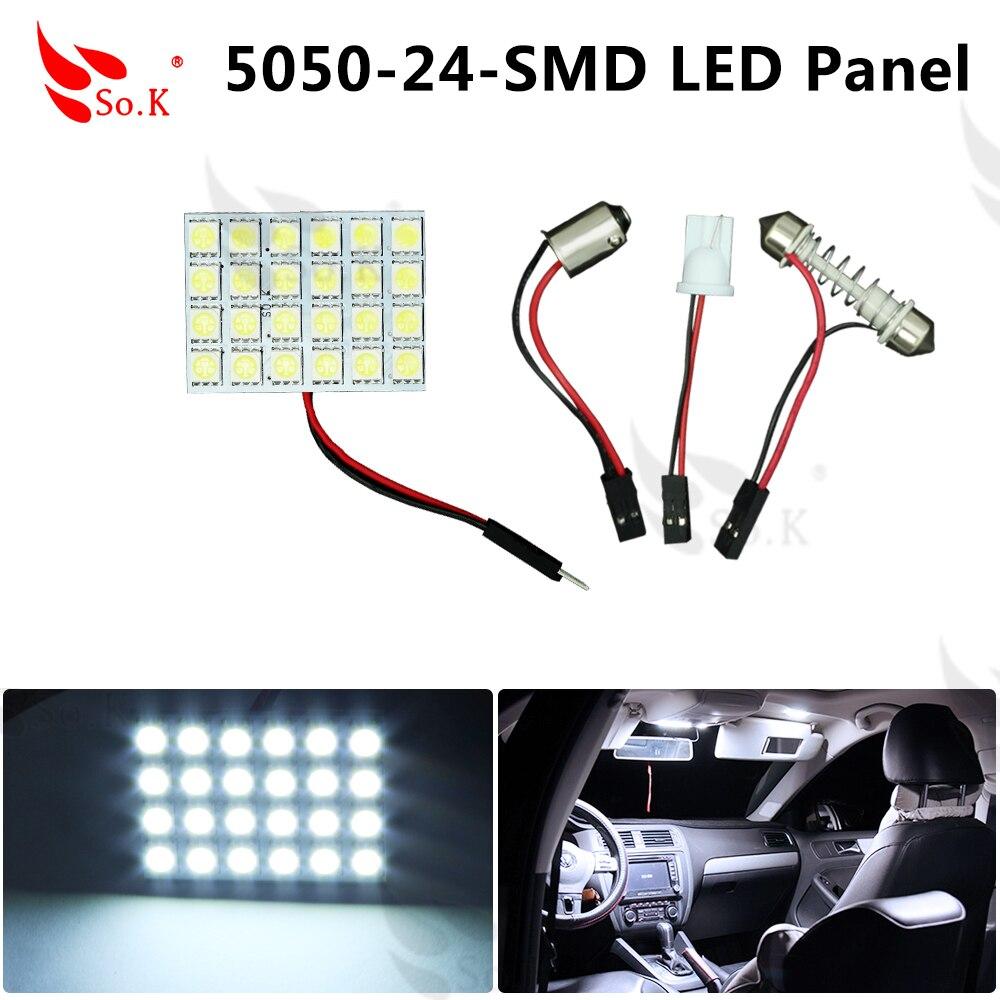Car Interior Roof Reading Light White 24 Smd 5050 Led Panel