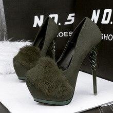 2017 Plush decoration Women  Pumps Round Toe High Heels Women Platform Pumps Fashion  Party Shoes