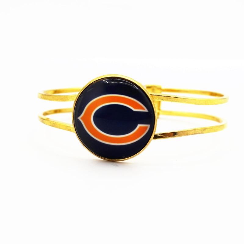 Оптовая продажа 1 шт./лот Футбол стекло Chicago Bears Командные виды спорта браслет Подвески Сплав серебра стрейч браслеты для подарка