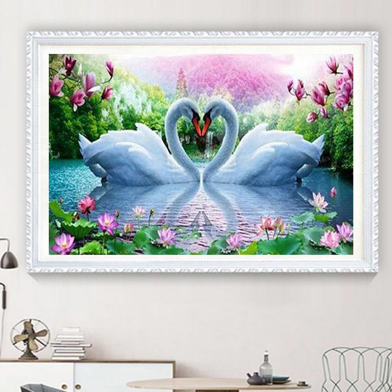 5D DIY Diamond Painting Swan Scenery Round Cross Stitch Diamond Embroidery Patterns Rhinestones Needlework Home Decor Gift