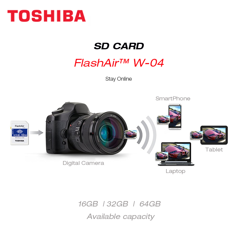 Image 3 - TOSHIBA FlashAir W 04 Wifi Memory SD Card 32GB SDHC 64GB SDXC Class 10 U3 Memory card For Digital Camera-in Memory Cards from Computer & Office