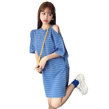 Striped Women's T-shirt Short Sleeve Loose T Shirt Off Shoulder Top Summer Long T Shirt Blusas Femininas 2019 drop shoulder striped t shirt with split