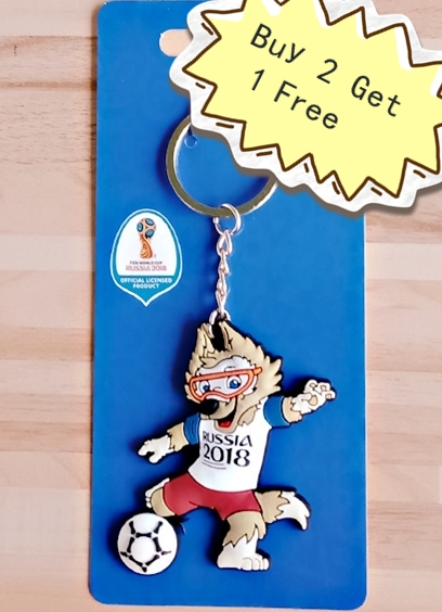 2018 New Lovely Mascot Trophy Keychain Ma'le Wolf Pendant Playing Football Key chain Gifts for men and women's best friendship