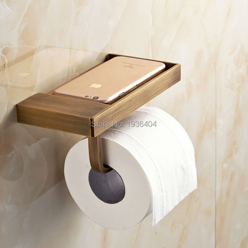 Brass Material Mobile Phone Toilet Roll Paper Holder Paper Rack with Phone 6P Antique Copper Wall Mounted PH216  heavy bullet head bobbin holder with ceramic tube tip protecting lines brass copper material