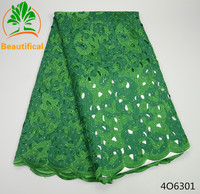 Green african organza lace fabric latest design 2017 high quality lace hot Nigerian lace fabrics 5 yards/piece for party 4O63