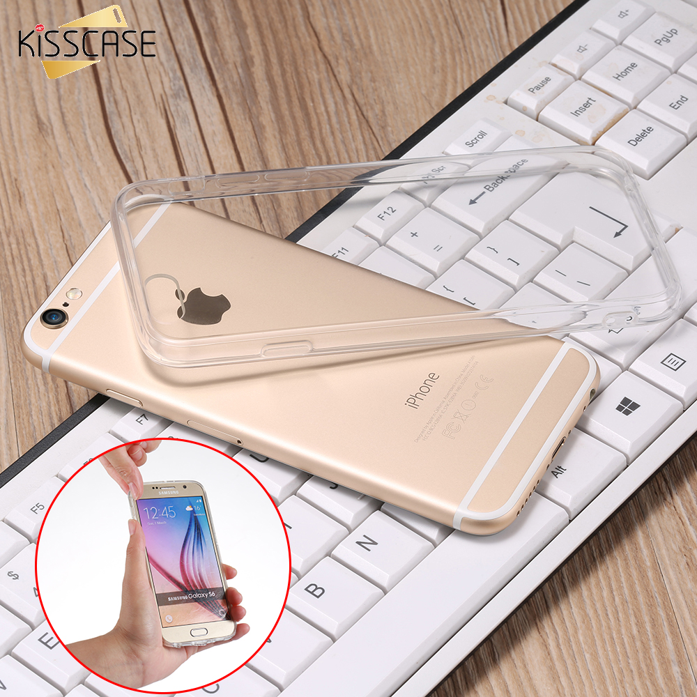 KISSCASE Crystal Case For iPhone 5S SE 7 6S 6 Case 7 6s Plus Soft TPU Frame + Acrylic Back Crystal Cover For iPhone 7 6 6s 5S SE