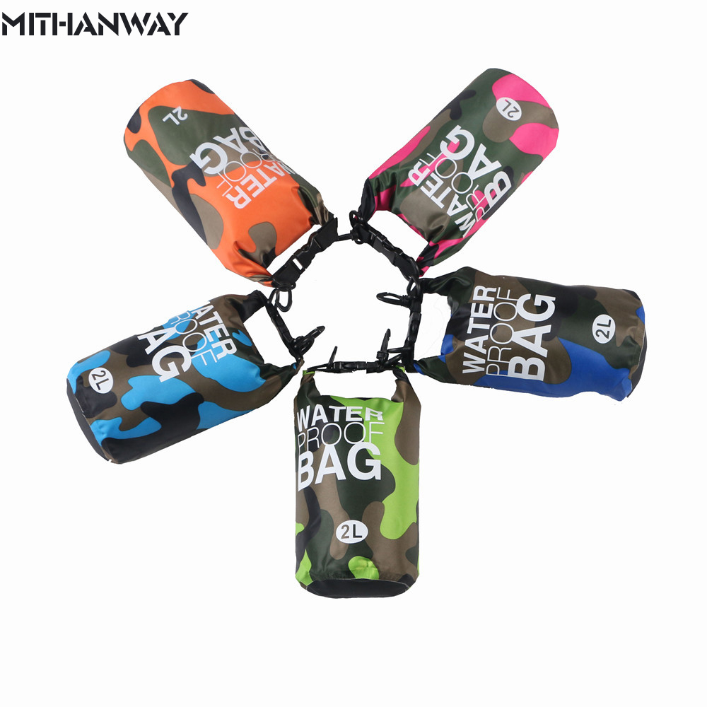 2L Small Outdoor Waterproof Camouflage Mini Strap Dry Floating Drift fishing Rafting Camping Hiking Swimming Upstream Bucket Bag