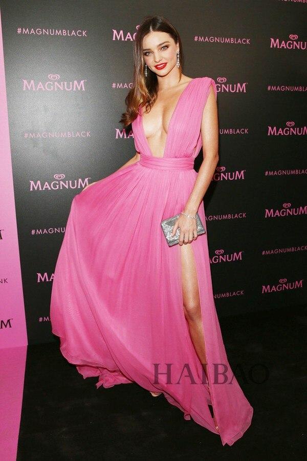Sexy profonde col en v rose robe de bal Miranda Kerr 2018 Cannes Film Gala robe de soirée inspiré livraison gratuite robes de demoiselle d'honneur