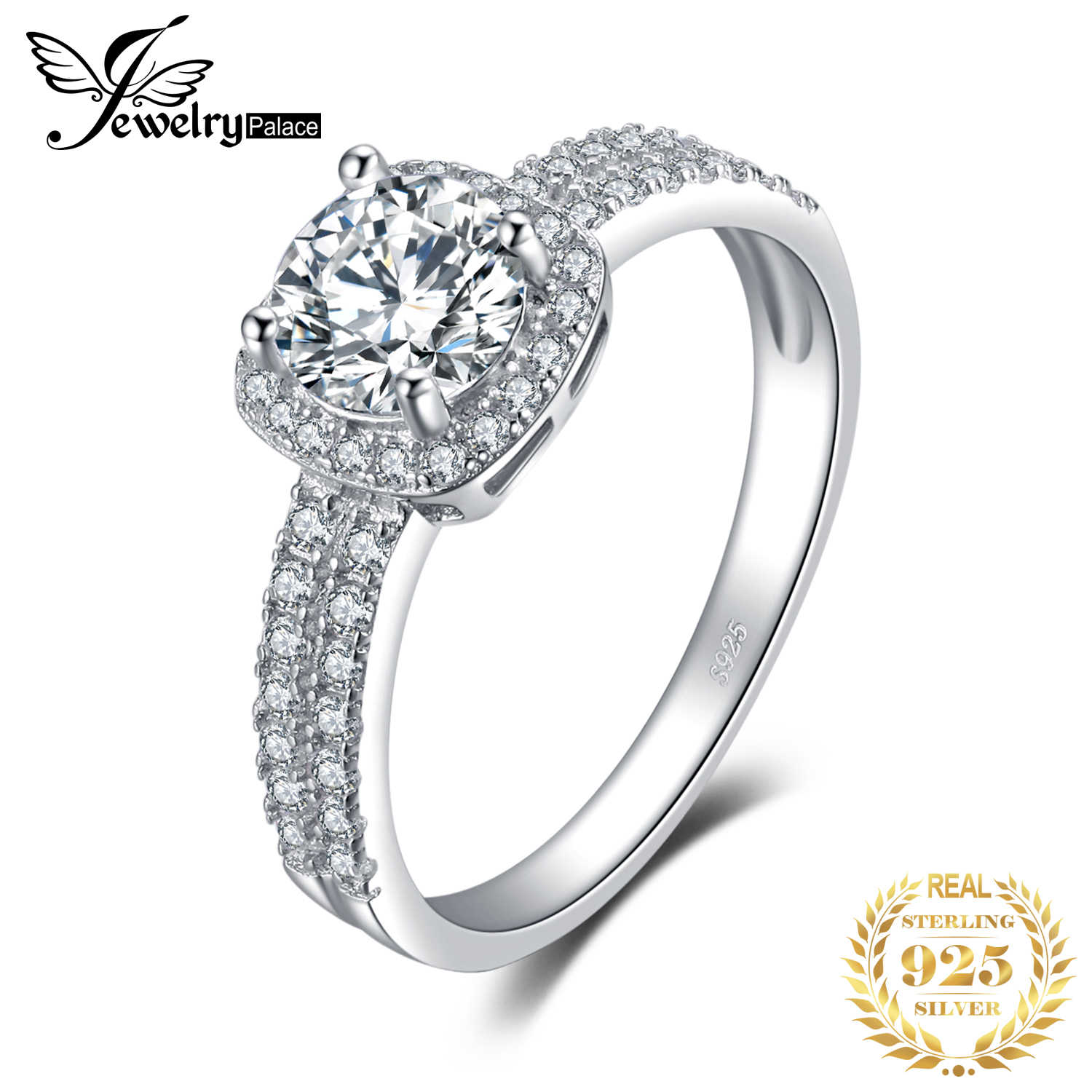 JewelryPalace Halo 1.1ct Round Cubic Zirconia Engagement Promise Ring Genuine 925 Sterling Silver Ring For Women Fashion Jewelry